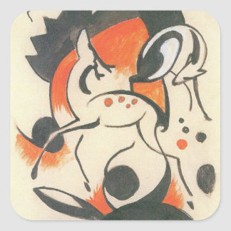 Composition with Two Deer by Franz Marc Square Sticker