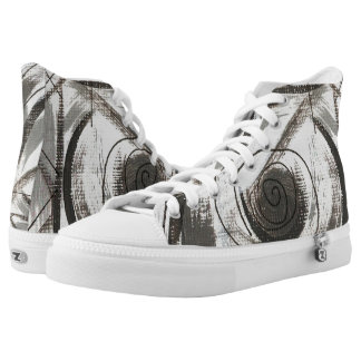 Compromise-Black and Gray Abstract Brushstrokes Printed Shoes