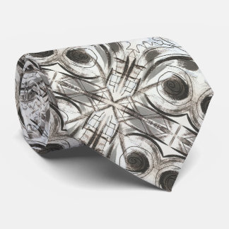 Compromise-Black and Gray Abstract Brushstrokes Tie
