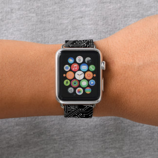 Computer Circuit Board Apple Watch Leather Band