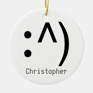 Computer Code Face Named Ceramic Ornament