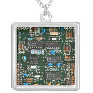 Computer Electronics Printed Circuit Board Silver Plated Necklace