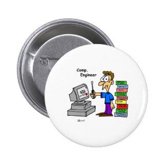 Computer Engineer Cartoon 6 Cm Round Badge