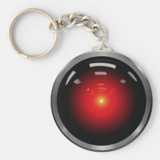Computer Eye Artificial Intelligence Basic Round Button Key Ring