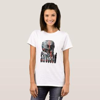 Computer Fried Skull Head, Ladies White T-shirt
