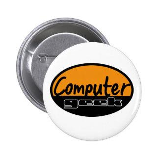 computer geek 6 cm round badge