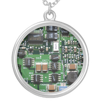 Computer geek charm silver plated necklace