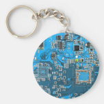 Computer Geek Circuit Board - blue Basic Round Button Key Ring