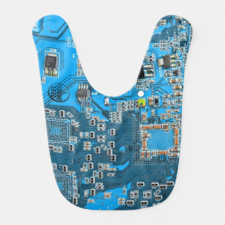 Computer Geek Circuit Board - blue Bibs