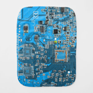 Computer Geek Circuit Board - blue Burp Cloth