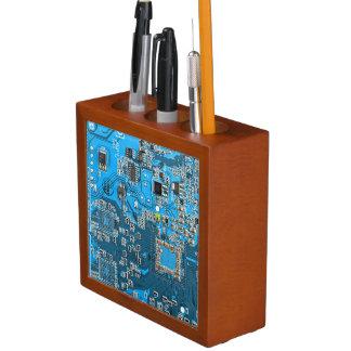 Computer Geek Circuit Board - blue Desk Organiser
