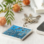 Computer Geek Circuit Board - blue Silver-Colored Square Key Ring