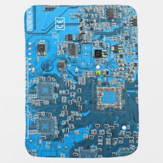 Computer Geek Circuit Board - blue Receiving Blanket