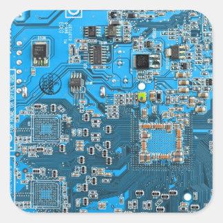 Computer Geek Circuit Board - blue Square Sticker