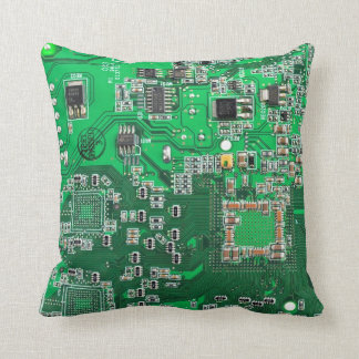 Computer Geek Circuit Board - green Throw Cushion