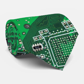 Computer Geek Circuit Board green Tie
