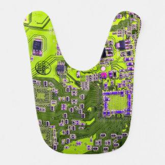 Computer Geek Circuit Board - neon yellow Baby Bibs