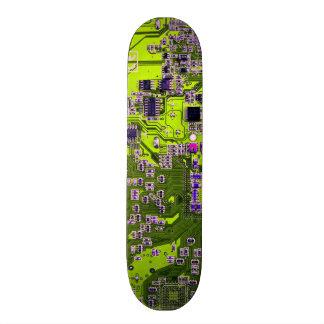 Computer Geek Circuit Board - neon yellow Custom Skate Board