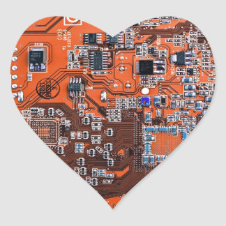 Computer Geek Circuit Board - orange Heart Sticker