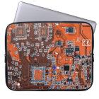 Computer Geek Circuit Board - orange Laptop Sleeve