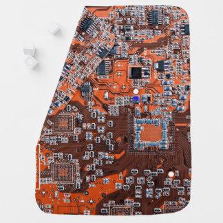 Computer Geek Circuit Board - orange Receiving Blankets