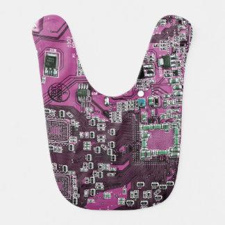 Computer Geek Circuit Board - pink purple Bibs