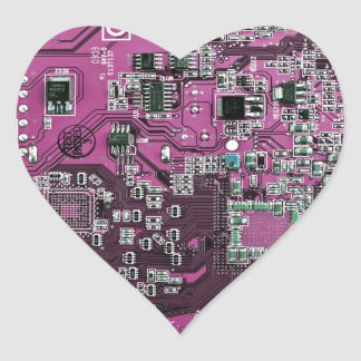 Computer Geek Circuit Board - pink purple Heart Sticker