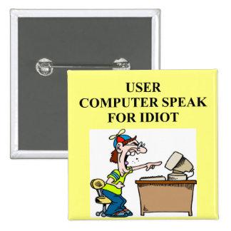 computer geek joke 15 cm square badge