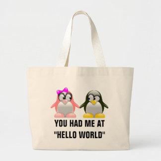 Computer Geek Valentine: Programming Language Love Jumbo Tote Bag
