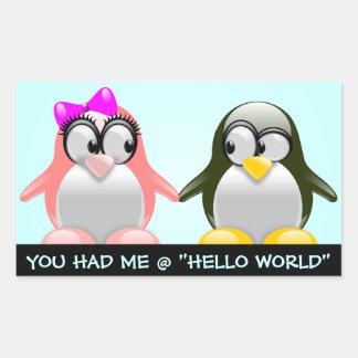 Computer Geek Valentine: Programming Language Love Rectangular Sticker