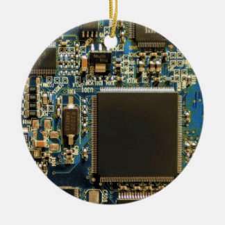 Computer Hard Drive Circuit Board blue Ceramic Ornament
