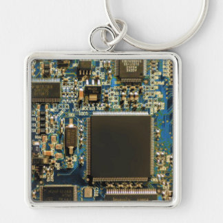 Computer Hard Drive Circuit Board blue Silver-Colored Square Key Ring