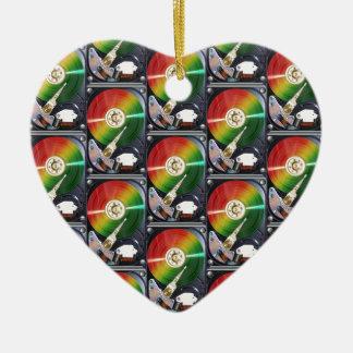 Computer Hard Drive Collage Ceramic Heart Decoration