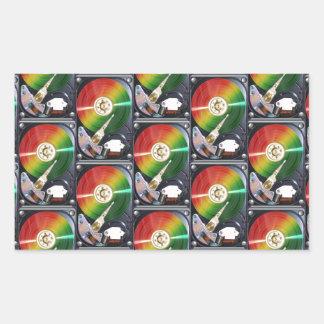 Computer Hard Drive Collage Rectangular Sticker