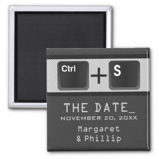 Computer Key Control Save the Date Magnet, Gray Square Magnet