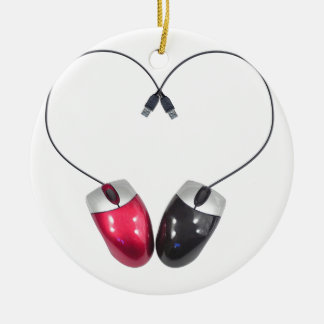 Computer Mouse Heart Ceramic Ornament