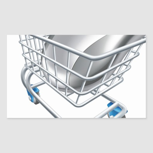 Computer mouse in trolley rectangle stickers