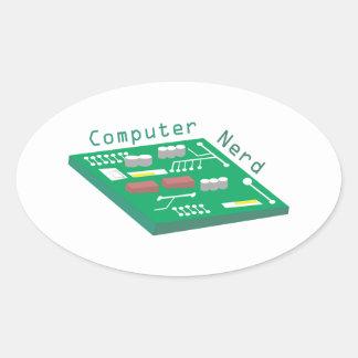Computer Nerd Oval Sticker