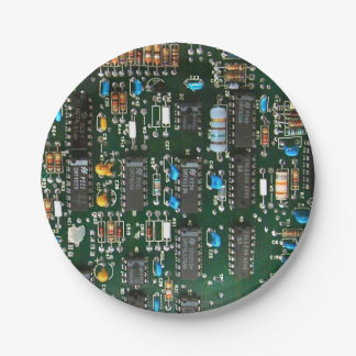 Computer Printed Circuit Board 7 Inch Paper Plate