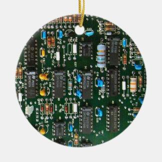 Computer Printed Circuit Board Round Ceramic Decoration