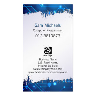 Computer Programmer Ripped Paper Blue Circuits Pack Of Standard Business Cards