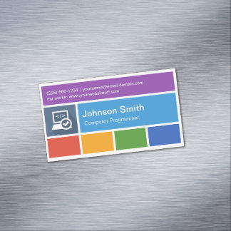 Computer Programming Teacher - Modern Metro Style Magnetic Business Cards