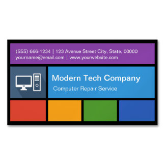 Computer Repair Retailer - Colorful Tiles Creative Magnetic Business Cards