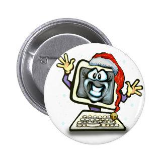 Computer Santa Pinback Buttons