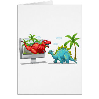 Computer screen with two dinosaurs card