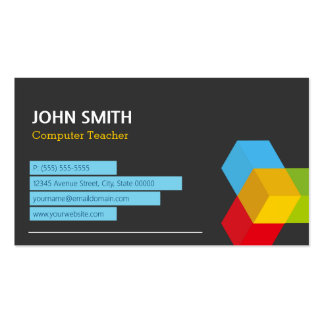 Computer Teacher - Abstract Cube Logo Pack Of Standard Business Cards