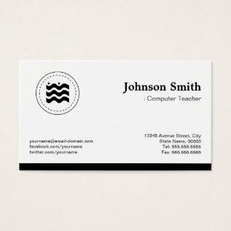 Computer Teacher Black White Changeable Logo Business Card