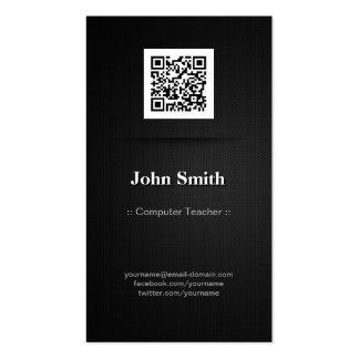 Computer Teacher - Elegant Black QR Code Double-Sided Standard Business Cards (Pack Of 100)