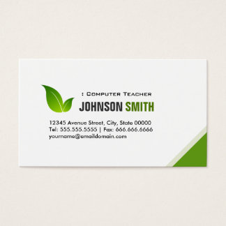 Computer Teacher - Elegant Modern Green Business Card