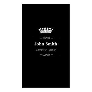 Computer Teacher Elegant Royal Black White Double-Sided Standard Business Cards (Pack Of 100)
